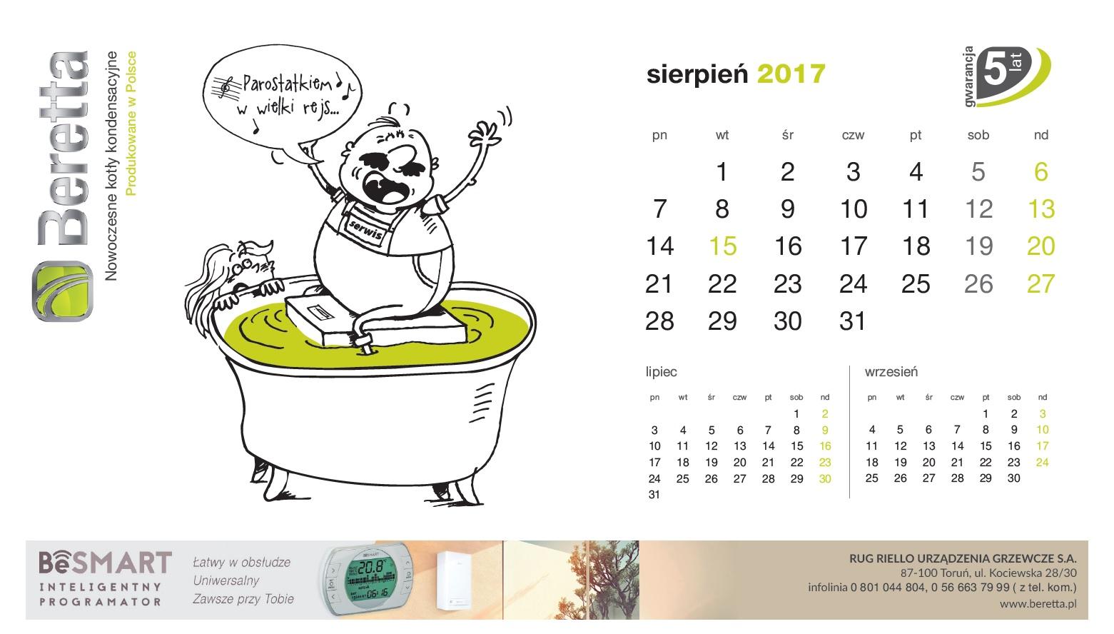 Kartka z kalendarza Beretta. Sierpień