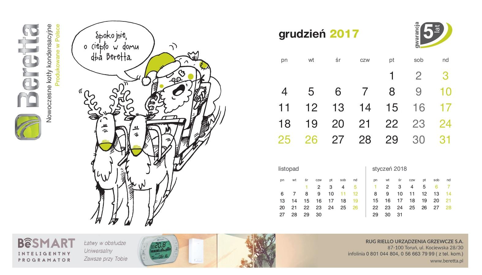 Kartka z kalendarza Baretta. Grudzień