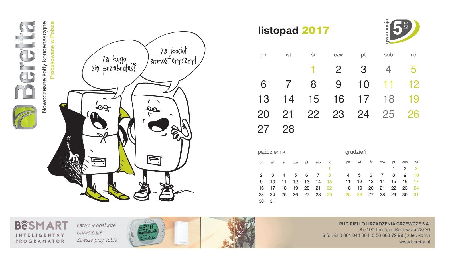 Kartka z kalendarza listopad
